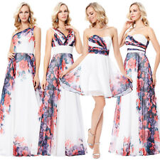 Grace Karin Long Print Chiffon Bridesmaid Wedding Prom Party Evening Dresses