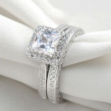 Platinum Plated AAA CZ Princess Cut Wedding Ring Set Engagement Jewelry