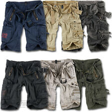 SURPLUS ROYAL SHORTS MILITARY ARMY VINTAGE CARGO COMBAT + BELT KNEE LENGTH