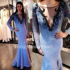 Mermaid Long Formal Prom Party Gown Applique Evening Bridesmaid Dresses Crystals