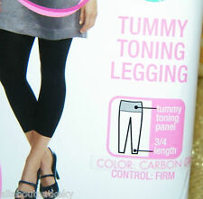 FLEXEES FAT FREE DRESSING FIRM CONTROL* TUMMY TONING LEGGINGS *S* GRAY Last One!