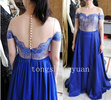 Evening Party Dress Formal Prom Pageant Royal Blue Wedding Bridesmaid Ball Gown+
