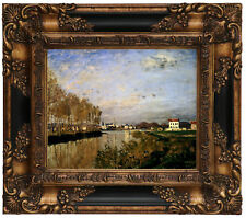 Monet The Seine At Argenteuil - Vanilla Sky Wood Framed Canvas Print Repro 8x10