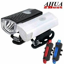 Mountain Bike Bicycle LED USB Rechargeable Head Front Light & Rear Tail Lamp Set