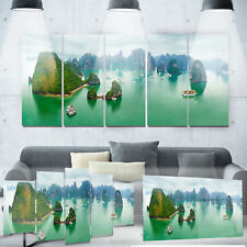 Designart 'Tourist Junks at Ha Long Bay Vietnam' Landscape Metal Wall Art