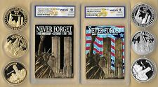 2002 23 Kt Gold World Trade Center 9/11 1st Black & Patriotic 6 Coin Lot Silver