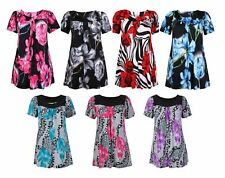 Ladies Floral Print Stretch Tunic Smock Long Top Summer Casual Stylish New Dress