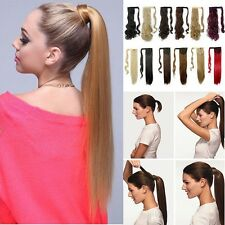 Magic Tape Ponytail Long Straight Clip in Hair Extensions Real Wrap Around RF5