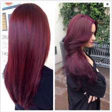 Synthetic Full Head Straight Long Clip-in Hair Extensions Hairpieces Plum Red