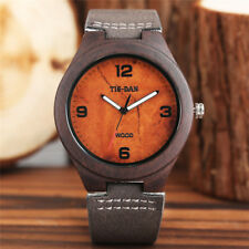 Creative Bamboo Genuine Leather Strap Nature Wood Quartz Wrist Watch Mens Womens
