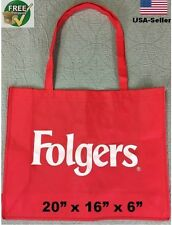 """Grocery Shopping Bag Tote Reusable Recycled eco Beach Folgers X Large 20"""" Lot"""
