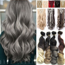 100% Natural Long Full Head Clip In Hair Extensions 8 Pieces Real As Human Fm3
