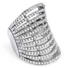 Sterling Silver 2 1/4ct Micropave Cubic Zirconia Multi-row Concave Cocktail Ring