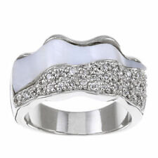 Rhodium-plated Brass Cubic Zirconia and Mother of Pearl Wave Ring