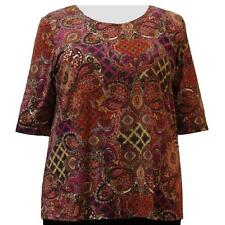 A Personal Touch Women's Plus Size Raspberry Paisley Garden Top