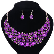Wedding Jewelry Shining Shaped Necklace Earring Charm Crystal Bridal Jewelry Set