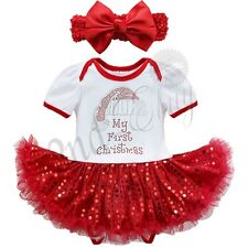 My First Christmas Santa Baby Girl Romper Fancy Tutu Dress Up Outfit Headband