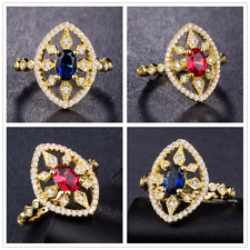Gorgeous Women 18k Yellow Gold Plated Oval Cut Gemstone Wedding Ring Size 6-10
