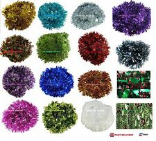 Tinsel Chrismas 2M 6.5Ft or 4M 13Ft Chunky  Tree Decoration Garland 15 Colour