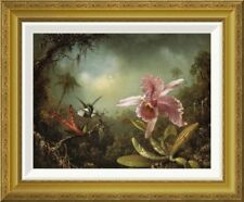 'Orchid With Two Hummingbirds' by Martin Johnson Heade Framed Painting Print