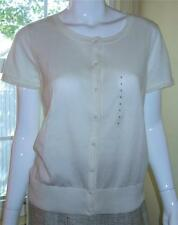 NWT Ann Taylor Short Sleeve Cotton Cardigan Sweater  $60  White  New