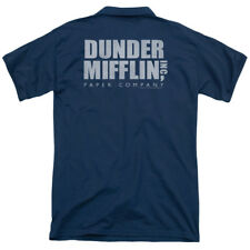 The Office Dunder Mifflin Distressed (Back Print) Mens Polo Shirt NAVY