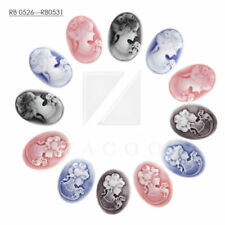 3/10pcs Cabochons Vintage Resin Cameo Embellishments Flatback Oval BWRB526-RB531
