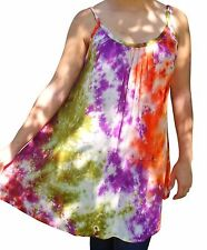 FAIR TRADE RAYON TIE DYE LADIES TUNIC TOP SUN DRESS ONE SIZE 10 12 14 16 18 20