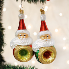 New Old World Christmas Wind Swept Santa Reflector Glass Ornament Assorted 42015