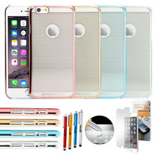"""Luxury Thin Aluminum Metal Bumper Clear Back Case Cover for iPhone 6 / 6S 4.7"""""""
