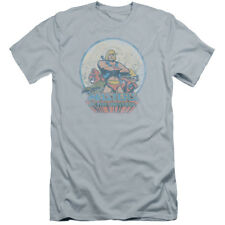 Masters Of The Universe He Man And Crew Mens Premium Slim Fit Shirt (Light Blue,