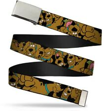 Blank Chrome Buckle Scooby Doo Stacked Close Up Webbing Web Belt