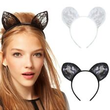 Women Lady Girls Kids Cute Cat Costume Ear Party Lace Hair Head Band Prop