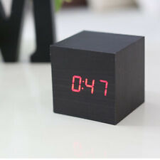 Square Wooden Digital Snooze Alarm Clock LED Dimmer Table Temperature Calendar
