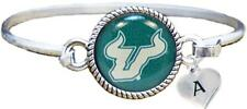 Custom South Florida Bulls Silver Bangle Bracelet Choose Initial Charm USF