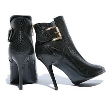 Carbon Fiber Pattern Nappa Shoe Cowhide Leather Ankle Boot Ladies' Zip Bootie