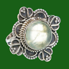 PREHNITE SOLID 925 STERLING SILVER HANDMADE EXCLUSIVE RING SIZE 5,6,7,8,9,10