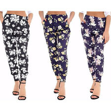 NEW WOMEN LADIES FLORAL PRINTED ELASTIC SIDE POCKETS PANTS TROUSERS PLUS SIZES