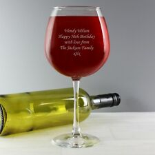 PERSONALISED  LARGE WINE GLASS HOLDS A BOTTLE OF WINE CHOOSE FROM 6 DESIGNS