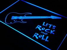 "16""x12"" i796-b Guitar Let's Rock n Roll Music Neon Sign"