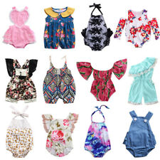 Newborn Baby Girls Clothes Floral Stripes Romper Bodysuit Summer Outfit US Stock