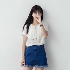 Women White Top Shirt Clothes Fashion Cute Modern Embroidered Stylish Sleeves