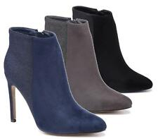 Ladies Sexy Faux Suede Stiletto Heel Pointed Toe Smart Zip Ankle Boots Shoes