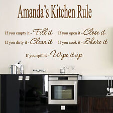 Personalized Name Kitchen Rule Art Wall Quotes / Wall Stickers / Wall Decals