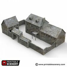 3D Printed - French Farmhouse, walled yard and barns - 15mm / 20mm / 28mm / 32mm