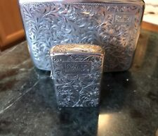 Vintage 950 Sterling Silver Zippo Lighter And Cigarette Case