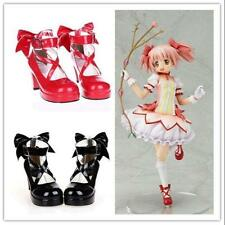 Girls Mary Jane Cosplay High Heel Lolita Red Shoes cross strap bowknot Pumps