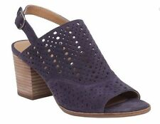 Women's Lucky Brand ORTIZA Slingback Sandal Heels Perforated Suede Moroccan Blue