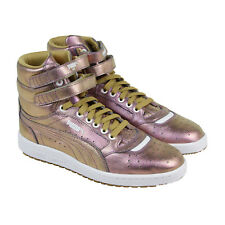 Puma Sky Ii Hi Holo Mens Gold Leather High Top Lace Up Sneakers Shoes