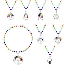 Natural 7 Chakra Beads Healing Gemstone Tree Life Hollow Pendant Necklace Gift
